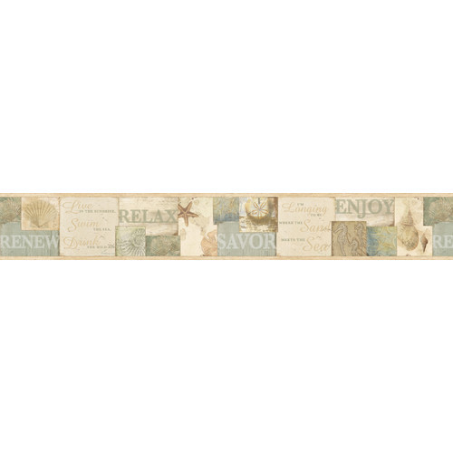 Brewster Home Fashions Sand Dollar Sagamore Be Cape Cod 15' x 6.8'' Scenic 3D Embossed Border Wallpaper