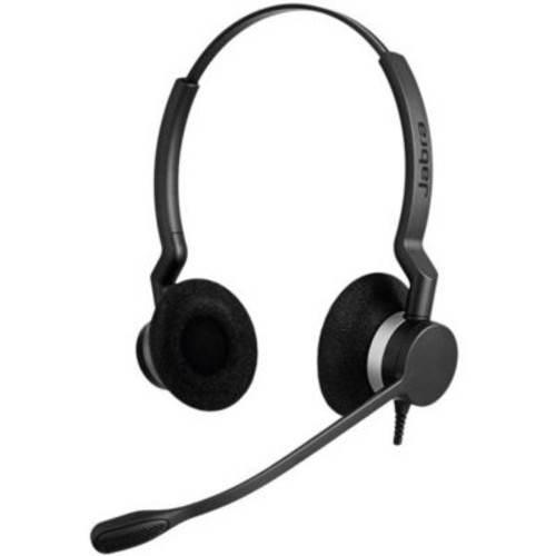 Jabra BIZ 2300 QD Duo On-Ear Corded Headset with Noise Canceling Microphone and Cord, Black