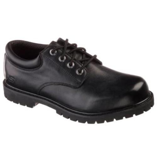 Skechers Cottonwood - Elks Men Size 8 Black Leather Work Shoe