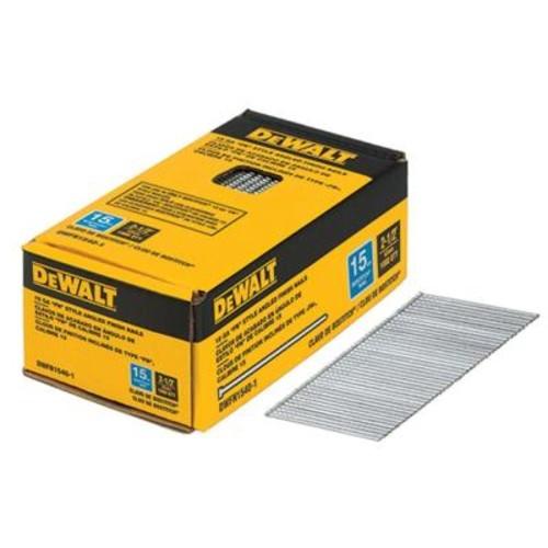 DEWALT 2-1/2 in. x 15-Gauge Glue Bright Steel Angled Finish Nails (1,000 per Box)