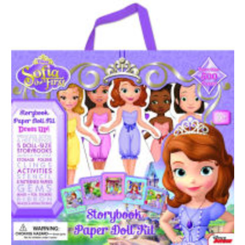 Sofia the First Storybook Paper Doll Kit: Dress Up! Princess Sofia & her friends, 5 doll-size storybooks, Ballroom play scene, Storage Folder, Clings, Stencils, Patterned Paper, Gems, Beads, Stickers, Ribbons