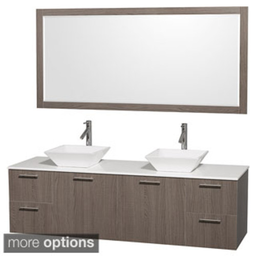 Wyndham Collection Amare Dove Grey Acrylic Resin Top Integrated Sinks 72-inch Double Vanity with 70-inch Mirror