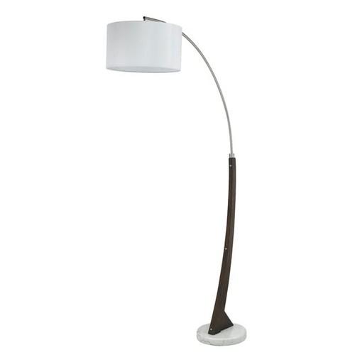 Brushed Steel and Marble Base 150-watt Arc Floor Lamp