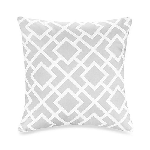 Sweet Jojo Designs Diamond Throw Pillow in Grey/White