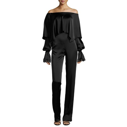 JONATHAN SIMKHAI Fluid Long-Sleeve Stretch-Sateen Jumpsuit