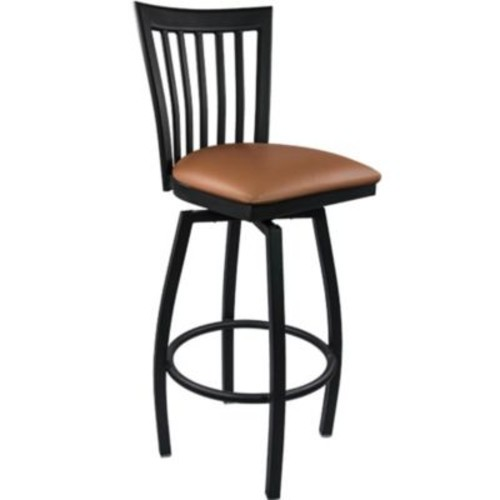Advantage Vertical Slat Back Metal Swivel Bar Stool - Mocha Padded (SBVB-BFMV-2)