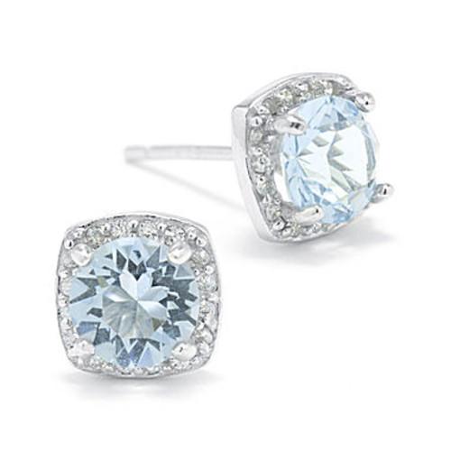 Blue Crystal Halo Sterling Silver Stud Earrings - JCPenney