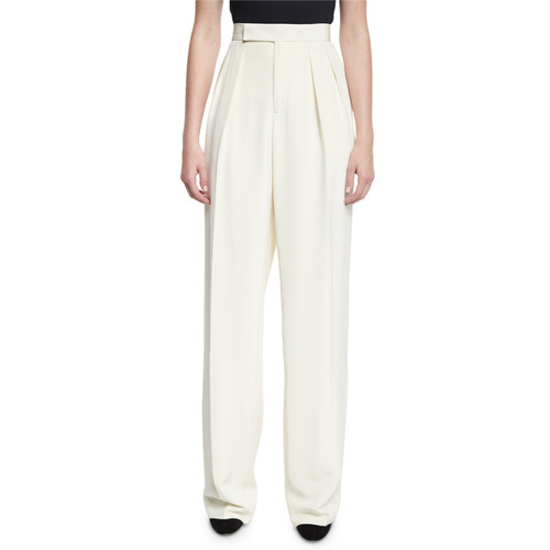 RALPH LAUREN High-Waist Pleated Crepe Pants, Ivory