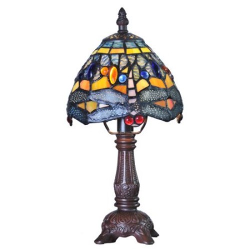 River of Goods Mini Hanging Head Dragonfly Tiffany Style Stained Glass 12.5'' H Table Lamp