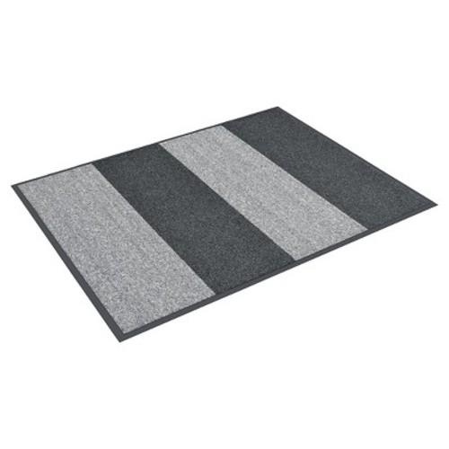 HomeTrax Designs Textura Color Block Charcoal 36 in. x 96 in. Vinyl-Backed Entrance Mat