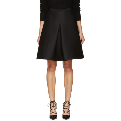 BURBERRY LONDON Black Front Pleat Skirt