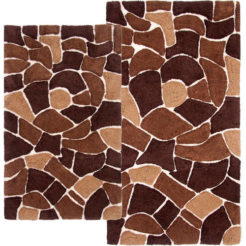 Chesapeake Merchandising Boulder 2-Piece Bath Rug Set, 21 by 34-Inch and 24 by 40-Inch, Brown [Brown]