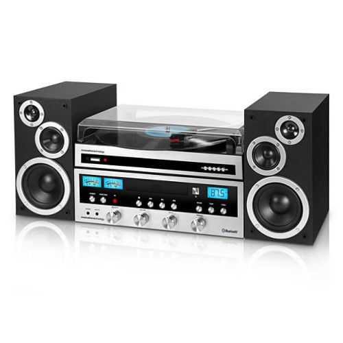 Innovative Technology Classic Retro Bluetooth Stereo System with CD Player, FM Radio, Aux-In, Headphone Jack, and Turntable, Silver and Black [Silver and Black, With Turntable]