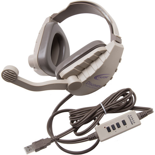 DS-8V-USB Discovery Stereo Binaural Headset with USB Plug (Gray & Beige)