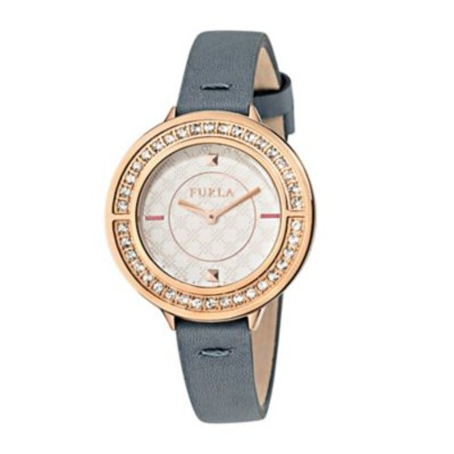 Furla Club Ladies' 34mm Watch in Rose Goldtone Stainless Steel with Grey Leather Strap