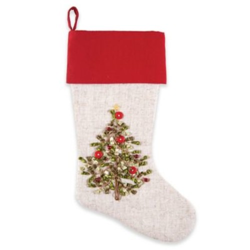 C&F Home Tree Ribbon Art Stocking in White