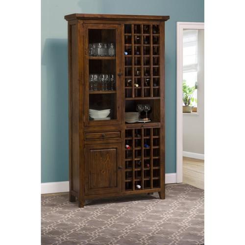 Hillsdale Furniture Tuscan Retreat 52-Bottles Tall Wine Storage in Antique Pine Finish