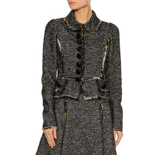 DOLCE & GABBANA Chiffon-Trim Tweed Jacket, Gray
