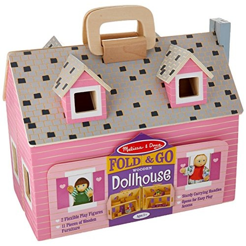 Melissa & Doug Fold and Go Wooden Dollhouse With 2 Dolls and Wooden Furniture [Dollhouse]
