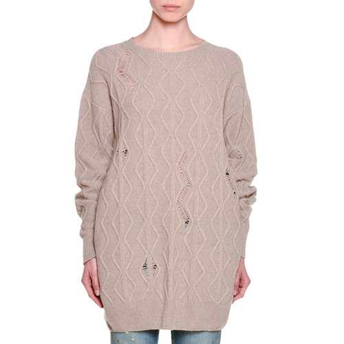 STELLA MCCARTNEY Distressed Long-Sleeve Cable-Knit Sweater, Camel
