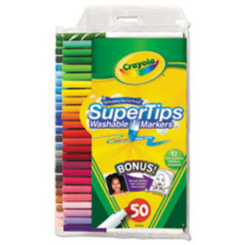Crayola Washable Super Tips Markers with Silly Scents, Assorted, 50/Set