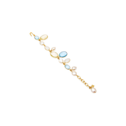 Pebble and Pearl 24K Gold-Plated Crystal Bracelet