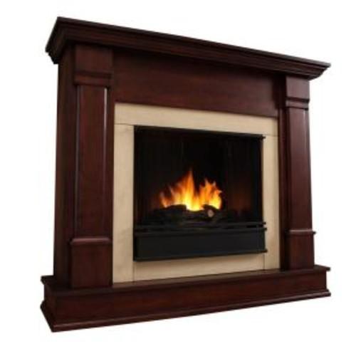 Real Flame Silverton 48 in. Gel Fuel Fireplace in Dark Mahogany
