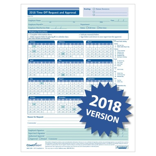 ComplyRight 2018 Time Off Request And Approval Calendars, 8 1/2