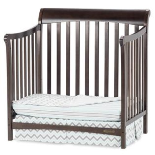Child Craft Mini 4-in-1 Convertible Crib with Mattress in Slate Finish