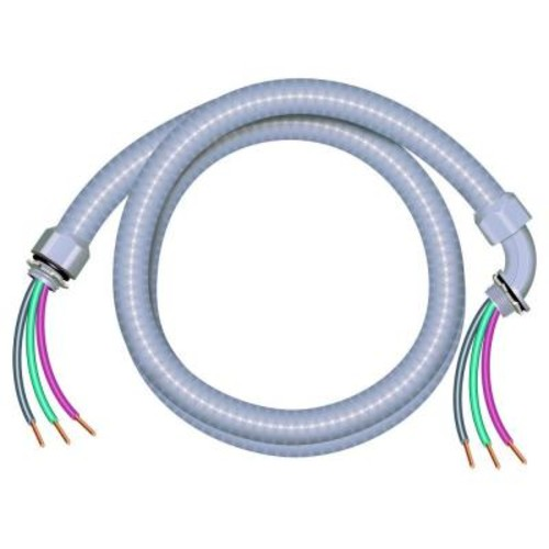 Southwire 1/2 in. x 4 ft. 10/3 Ultra-Whip Liquidtight Flexible Non-Metallic PVC Conduit Cable Whip
