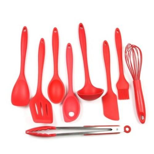 Chef Craft 9 Piece Silicone Kitchen Utensil Set; Red