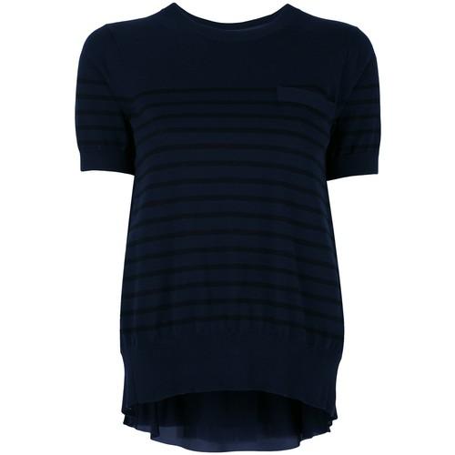 SACAI Cupro Insert Short Sleeved Sweatshirt