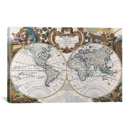 iCanvas 'Antique Double Hemisphere Map of The World' Canvas Art Print