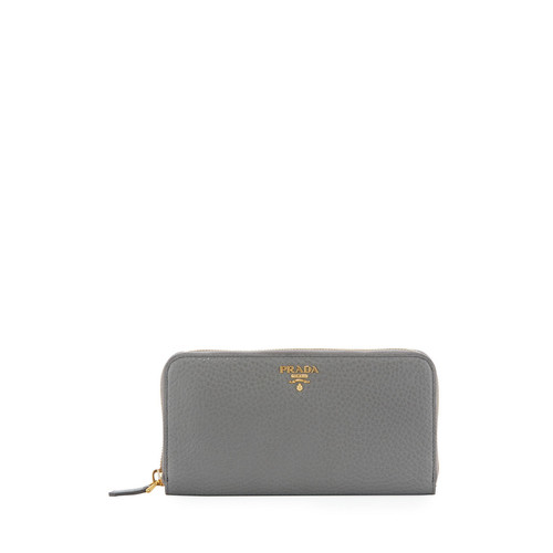 PRADA Leather Zip-Around Continental Wallet