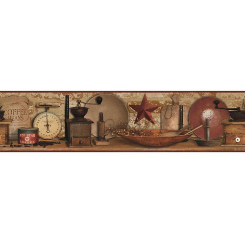 York Wallcoverings Country Keepsakes Country Coffee Wallpaper Border