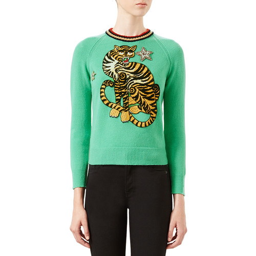 GUCCI Tiger Embroidered Knit Top, Caribbean Green