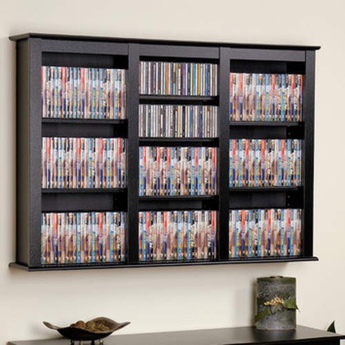 Floating Wall Mounted Triple Multimedia Storage Rack by Prepac [Finish : Black]
