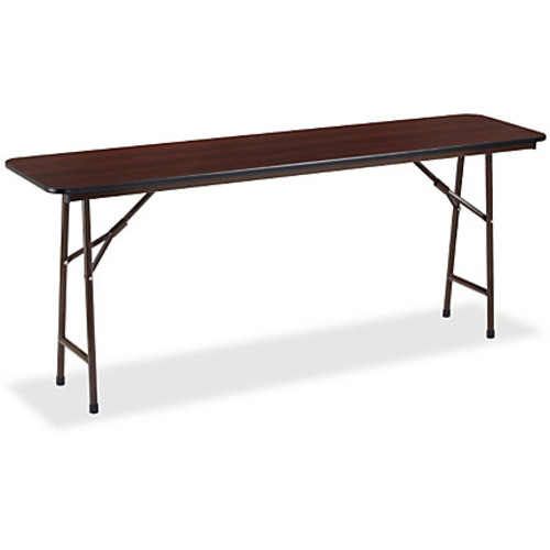 Lorell Laminate Folding Banquet Table, 5'W, Mahogany