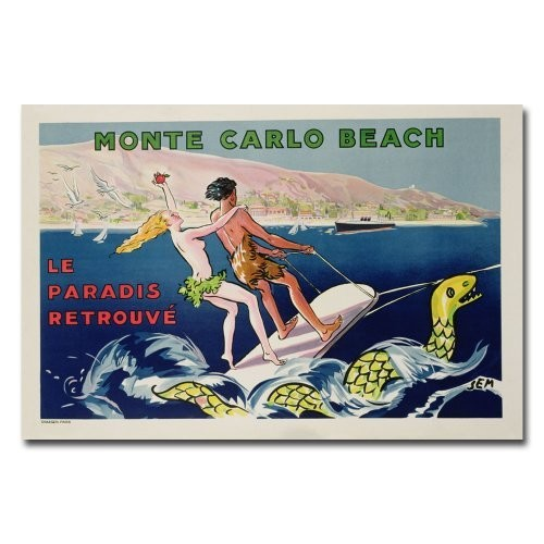 Monte Carlo Beach, 1932 by Georges Goursat, 22x32-Inch Canvas Wall Art [22 by 32-Inch]