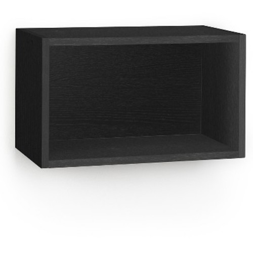 Way Basics Wall Rectangle - Floating Eco Decorative Wall Shelf - Black Wood Grain - Lifetime Guarantee