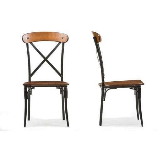 Broxburn Light Brown Wood & Metal Dining Chair - 2 Chairs