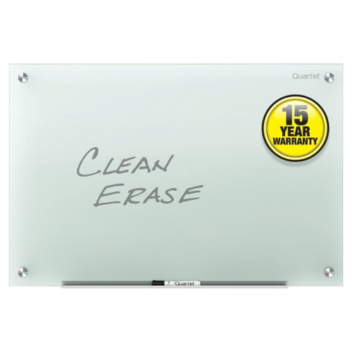 Quartet Infinity Frosted-Glass Frameless Dry-Erase Board, Non-Magnetic, 96