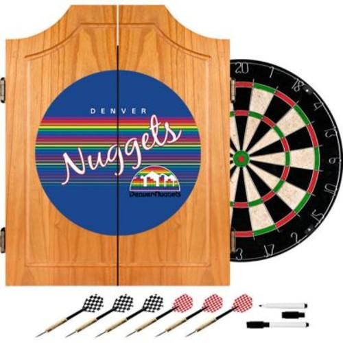 Trademark 20.5 in. Denver Nuggets Hardwood Classics NBA Wood Dart Cabinet Set