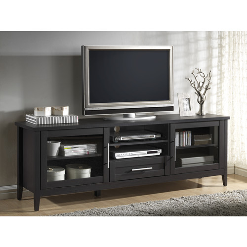 Baxton Studio Euclid Espresso Finished 2-Door and 1-Drawer TV Stand