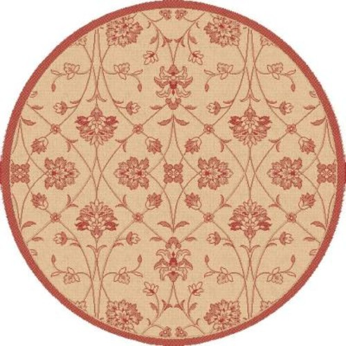 Dynamic Rugs Piazza Natural/Red 5 ft. 3 in. x 5 ft. 3 in. Round Indoor/Outdoor Area Rug