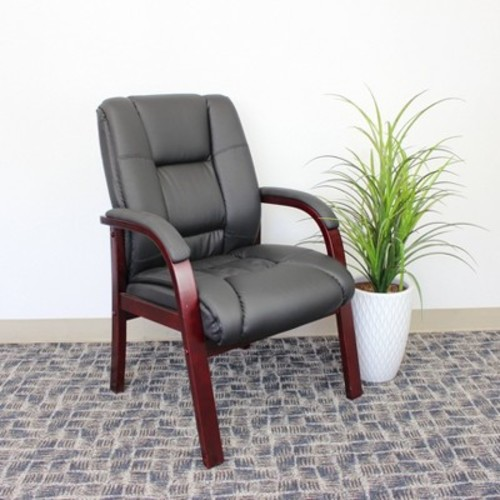 Mid Back Wood Finished Guest Chairs Black - Boss Office Products