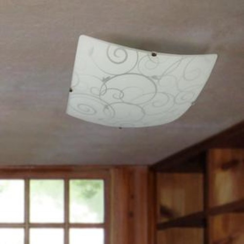 All the Rages Inc Simple Designs Square Flushmount Ceiling Light with Scroll Swirl Design