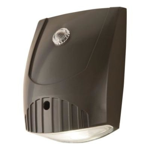 All-Pro Bronze Integrated LED Outdoor Wall Pack Light with Dusk to Dawn Photocell Sensor, 1000 Lumens, 5000K Daylight