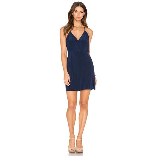 MISA Los Angeles Liza Cross Back Dress in Midnight