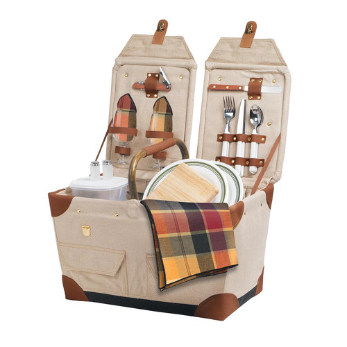 Picnic Time 'Pioneer' Original Design Picnic Basket with Deluxe Service for Two, Tan/Navy [Tan With Navy/Khaki Plaid]